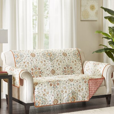 Floral Cotton Printed Reversible Box Cushion Loveseat Slipcover Upholstery: Microfiber Striped Red