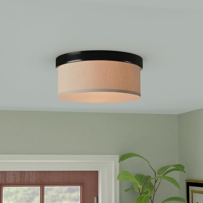Shelley 2-Light Flush Mount Finish: Oil Rubbed Bronze, Shade Color: Beige