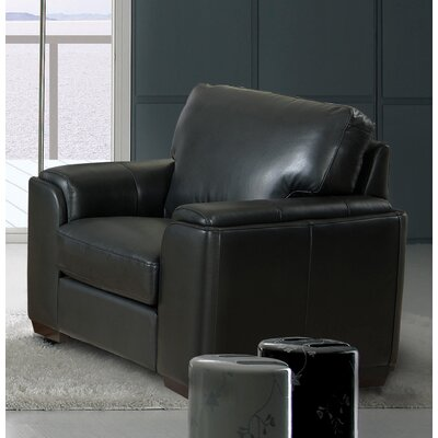 Hadley Leather Armchair Upholstery: Black