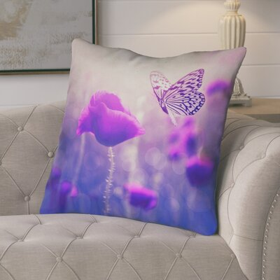 Mariani Country Butterfly and Rose Zipper Throw Pillow Color: Purple