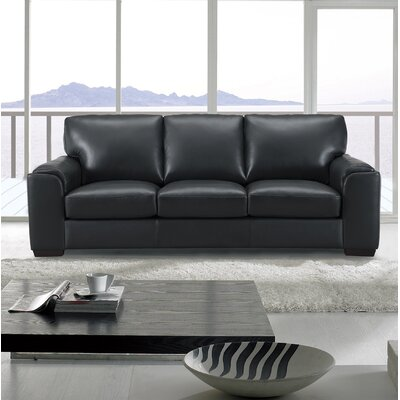Hadley Craft Leather Sofa Upholstery: Black