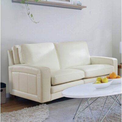 Hadnot Craft Leather Loveseat Upholstery: Ivory White