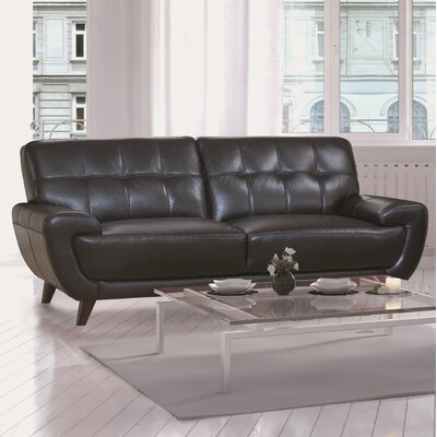 Sterns Craft Leather Sofa Upholstery: Black