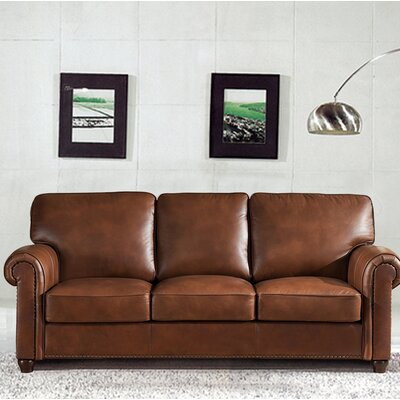 Kiaan Craft Leather Sofa Upholstery: Brown