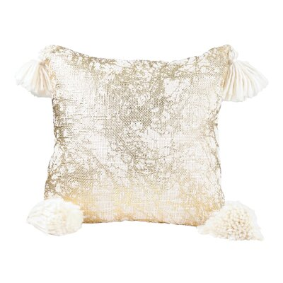 Sensabaugh 100% Cotton Throw Pillow with Poms
