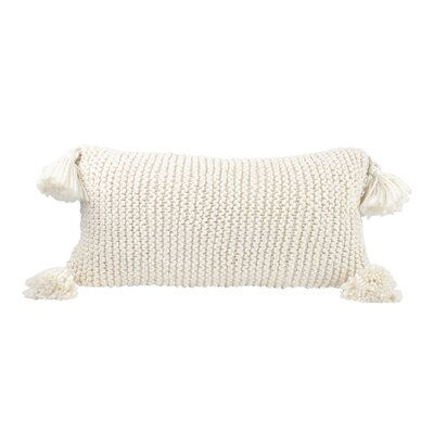 Chunky Knit 100% Cotton Lumbar Pillow with Poms
