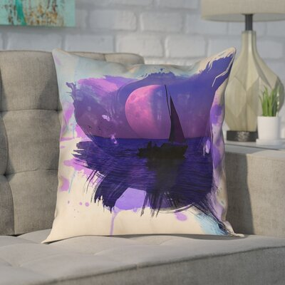 Houck Watercolor Moon and Sailboat Leather/Suede Pillow Cover Size: 14 H x 14 W