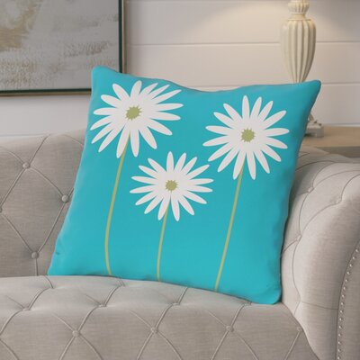 Broecker Floral Print Outdoor Throw Pillow Color: Caribbean, Size: 18 H x 18 W x 1 D