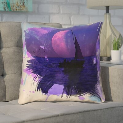 Houck Contemporary Watercolor Moon and Sailboat Square Throw Pillow Size: 14 H x 14 W