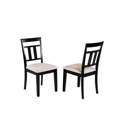 Aguiar Solid Wood Dining Chair Upholstery Color: Cream, Frame Color: Black