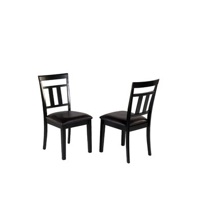 Aguiar Solid Wood Dining Chair Upholstery Color: Black, Frame Color: Black