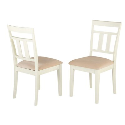 Aguiar Solid Wood Dining Chair Upholstery Color: Cream, Frame Color: White