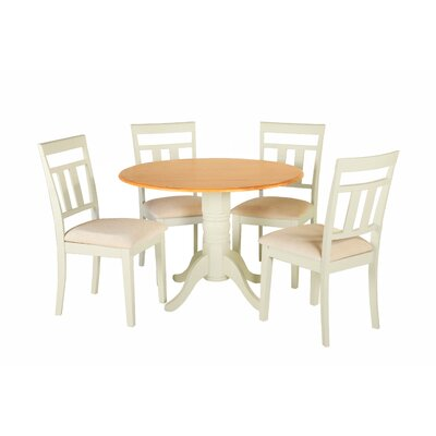 Agata 5 Piece Drop Leaf Dining Set Table Color: Cream, Chair Seat: Microfiber Upholstered