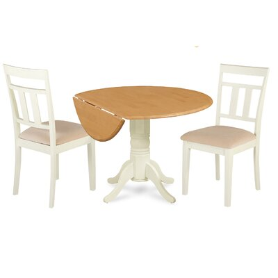 Adriano 3 Piece Drop Leaf Dining Set Table Color: Cream, Chair Seat: Microfiber Upholstered