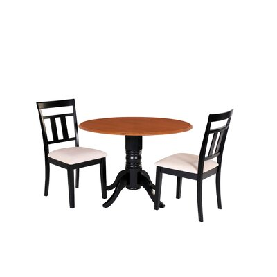 Adriano 3 Piece Drop Leaf Dining Set Table Color: Black/Cherry, Chair Seat: Microfiber Upholstered