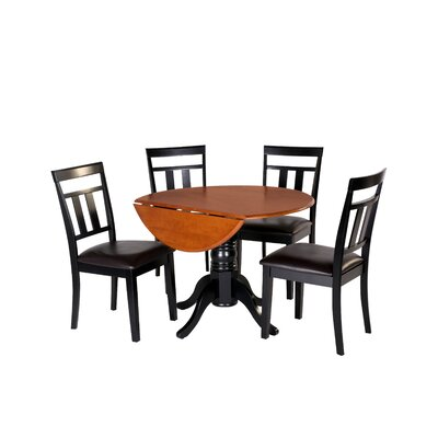 Agata 5 Piece Drop Leaf Dining Set Table Color: Black/Cherry, Chair Seat: Faux Leather