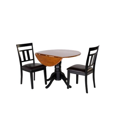 Adriano 3 Piece Drop Leaf Dining Set Table Color: Black/Cherry, Chair Seat: Faux Leather