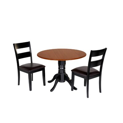 Adler 3 Piece Drop Leaf Dining Set Chair Color: Black