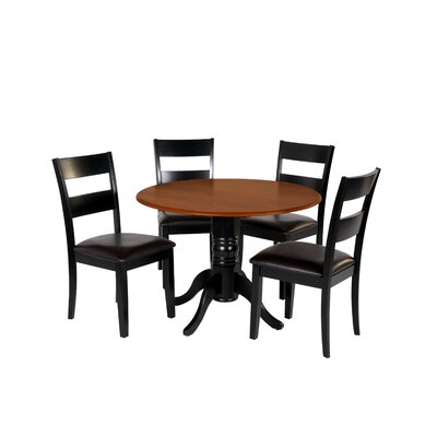 Adne 5 Piece Drop Leaf Dining Set Chair Color: Black