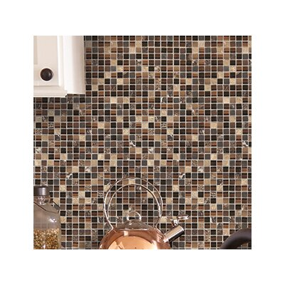 Treasure 12 x 12 Glass Gem Mosaic Tile in Brown Toffee