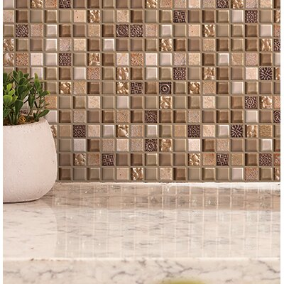 Treasure 12 x 12 Glass Gem Mosaic Tile in Pecan Taupe