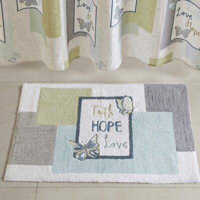 Elenora Faith Hope Love Cotton Embroidered Tufted Bath Rug