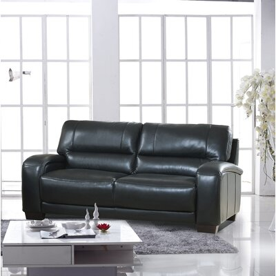 Hadsell Craft Leather Sofa Upholstery: Black