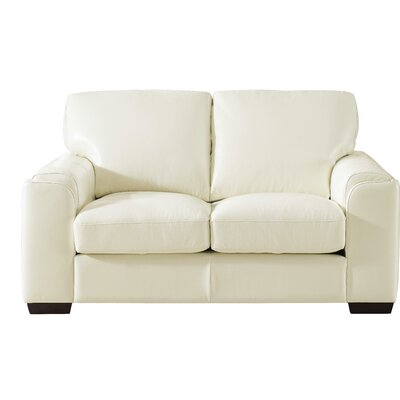 Hadley Craft Leather Loveseat Upholstery: Ivory White
