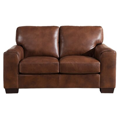 Hadley Craft Leather Loveseat Upholstery: Brown