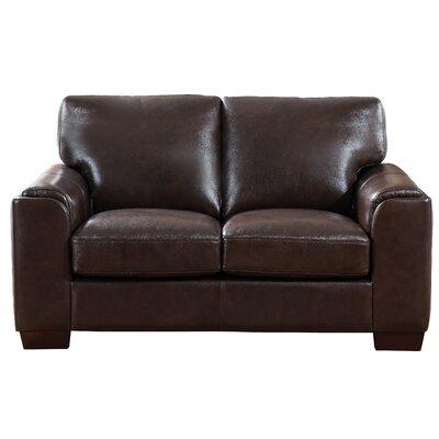Hadley Craft Leather Loveseat Upholstery: Dark Brown