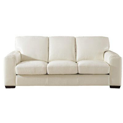Hadley Craft Leather Sofa Upholstery: Ivory White