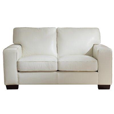 Van Nest Craft Leather Loveseat Upholstery: Ivory White