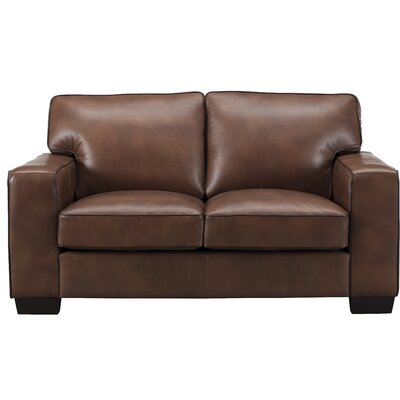 Van Nest Craft Leather Loveseat Upholstery: Brown