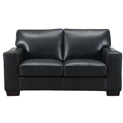 Van Nest Craft Leather Loveseat Upholstery: Black