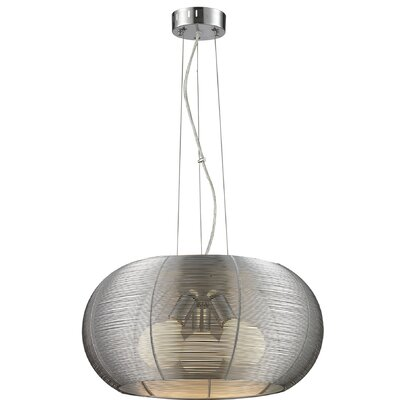 Jambusaria Metal 3-Light Drum Pendant Shade Color: Silver