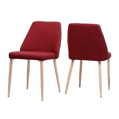 Dodrill Mid Century Upholstered Dining Chair Upholstery Color: Red, Leg Color: Beige