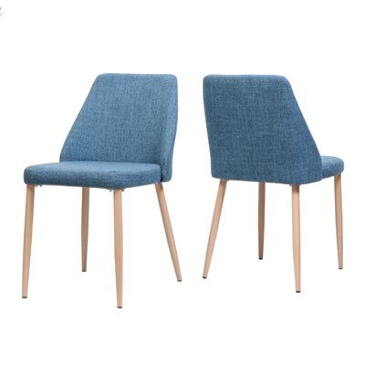 Dodrill Mid Century Upholstered Dining Chair Upholstery Color: Blue, Leg Color: Beige