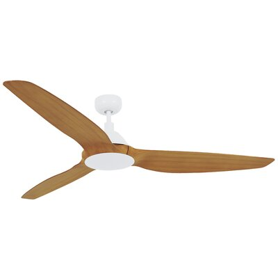 60 Hutton 3 Blade Ceiling Fan with Remote Control Finish: White with Teak Blades
