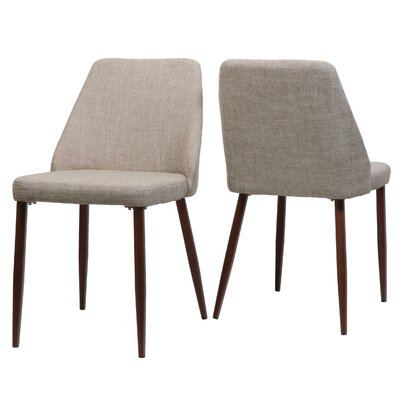 Dodrill Mid Century Upholstered Dining Chair Upholstery Color: Wheat, Leg Color: Brown