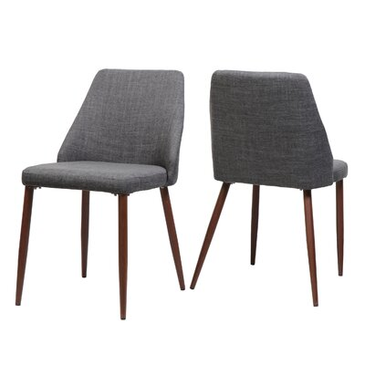 Dodrill Mid Century Upholstered Dining Chair Upholstery Color: Light Gray, Leg Color: Brown