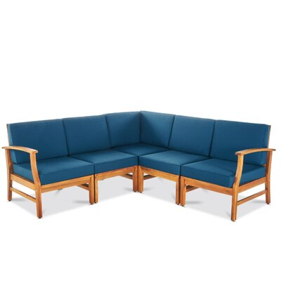 Butler Indoor Sectional with Cushion Upholstery: Blue
