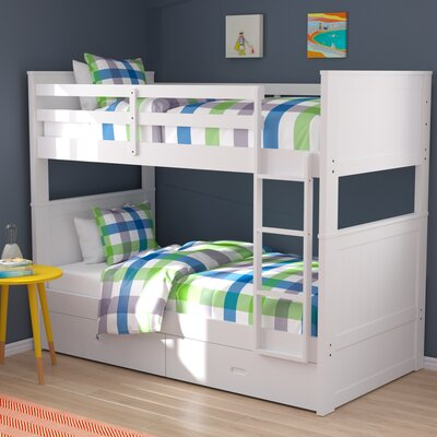 Fannie Twin Over Twin Storage Bunk Bed Color: White