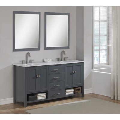 Pinedale 72 Double Bathroom Vanity Set Base Finish: Gray