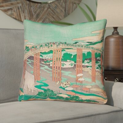 Enya Japanese Bridge Throw Pillow with Concealed Zipper Color: Green/Peach, Size: 16 x 16