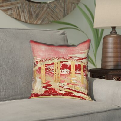 Enya Japanese Bridge Outdoor Throw Pillow Color: Red/Orange, Size: 16 x 16