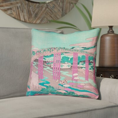 Enya Japanese Bridge Linen Throw Pillow Color: Pink/Teal, Size: 14 x 14