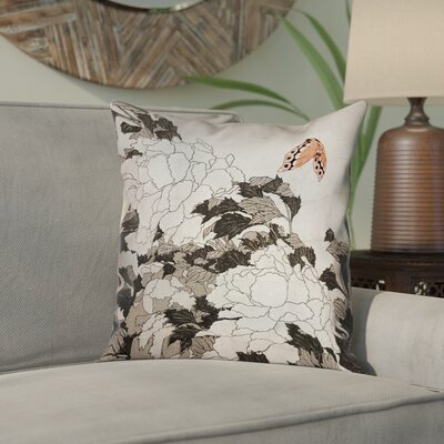 Clair Peonies with Butterfly Indoor Square Pillow Cover Color: Orange/Gray, Size: 14 x 14