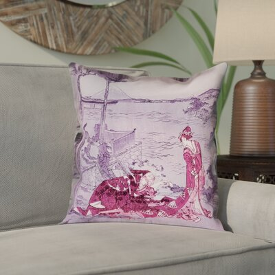 Enya Japanese Courtesan Square Cotton Pillow Cover Color: Pink/Purple, Size: 16 x 16