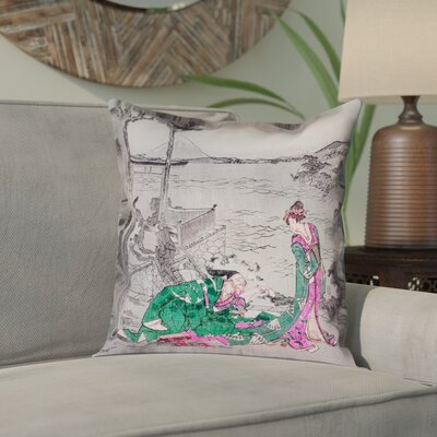 Enya Japanese Courtesan Square Cotton Pillow Cover Color: Green, Size: 16 x 16