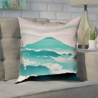 Enciso Fuji Square Pillow Cover Size: 14 H x 14 W, Color: Green